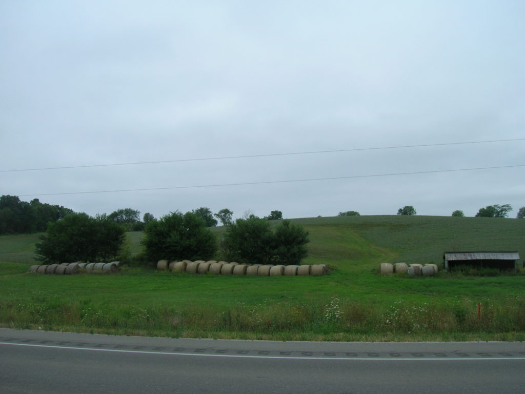 Hay stacks along Highway 1 on the way to Solon, Iowa from Iowa City, Iowa..